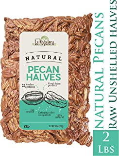 La Nogalera Pecans - Fresh Crop of Natural Halves in 2 lbs Vacuum sealed bag. Raw pecan nuts that compare to organic, NO SHELL.
