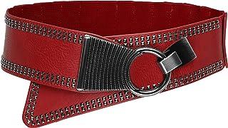 Ancho Elástico Metal Con tachuelas Gancho cruzada Cinturón