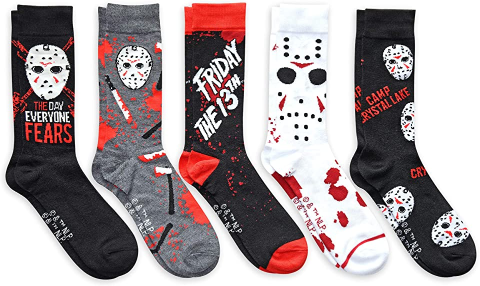 Hyp Friday the 13th Jason The Day Everyone Fears Men's Crew Socks 5 Pair Pack
