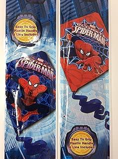 Spidermans Diamond Kites for Kids Blue and Red Plastic Marvel Ultimate Bundle of 2