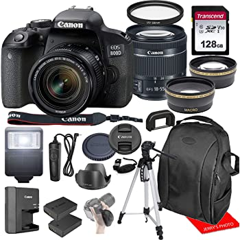 Canon EOS 800D / Rebel T7i w/Canon EF-S 18-55mm F/4-5.6 is STM Zoom Lens & Professional Accessory Bundle W/ 128GB Memory Card & Back-Pack Case & Spare Battery & More
