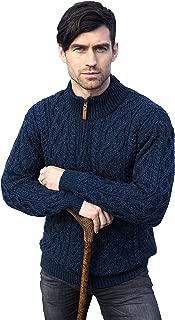 Aran Crafts Men's Irish Soft Cable Knitted Zip Neck Jacket (100% Merino Wool)