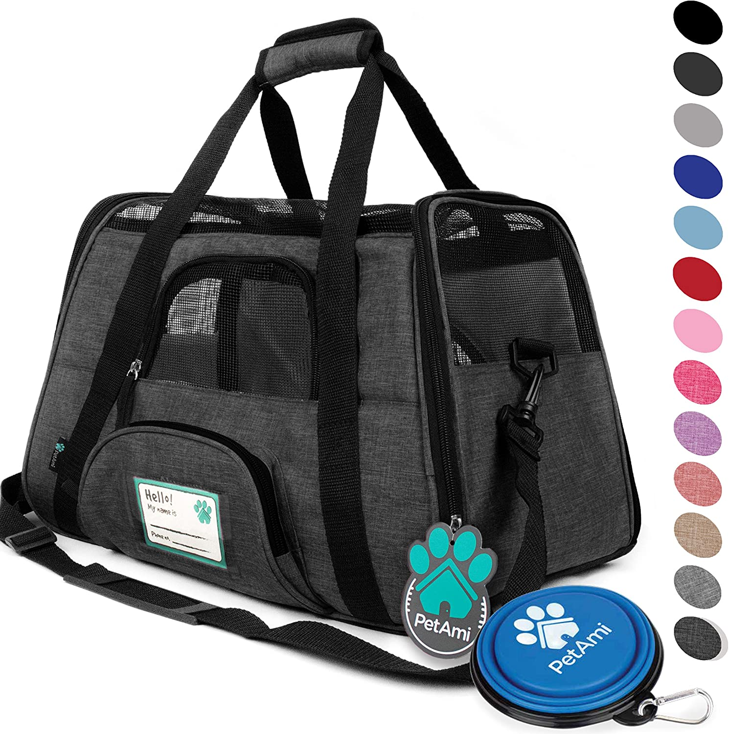 PetAmi Premium Airline Approved SoftSided Pet Travel Carrier   Ventilated, Comfortable Design with Safety Features   Ideal for Small to Medium Sized Cats, Dogs, and Pets (Large, Charcoal)
