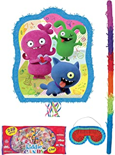 Party City Pull-String UglyDolls Pinata Supplies, Include a Pinata, a Pinata Stick, a Blindfold, and 4 Pounds of Candy