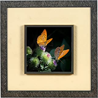 Wens 'Butterfly with Flowers Embossed' Wall Art Painting (Synthetic Wood, 33 cm x 33 cm x 4 cm)