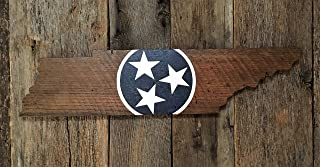 Ruskin352 Tennessee State Sign with Blue and White TriStar Wall Art on Reclaimed Wood Plaque Wood Sign