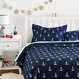 Amazon Basics Kid's Comforter Set - Soft, Easy-Wash Microfiber - Full/Queen, White Anchors