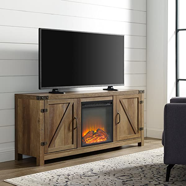 Home Accent Furnishings New 58 Inch Barn Door Fireplace Television Stand Rustic Oak Finish