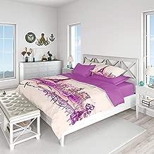 Gold Case JE T AIME Comforter Cover Set 100% Cotton Queen size Purple GC prs Jetaime-QS