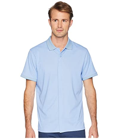 Magna Ready Classic Fit Ribbed Collar Knit Polo (Light Blue) Men