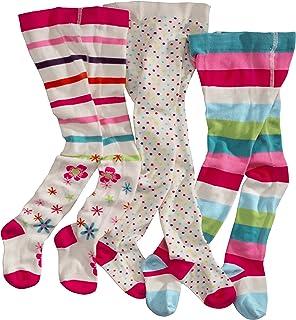 WELLYOU, collant per bambini per bambina, set di 3, calzamaglia ecru, cotone alta quota, taglia 62-146