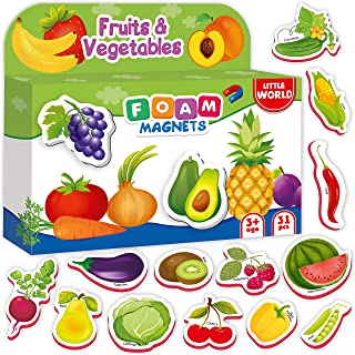 Foam Baby Magnets for Refrigerator Fruits & Veggies 31 pcs – Refrigerator Magnets for Toddlers – Kid Magnets – Fridge Food Magnets for Kids – Children Magnets for Babies Learning Age 1 2 3 old
