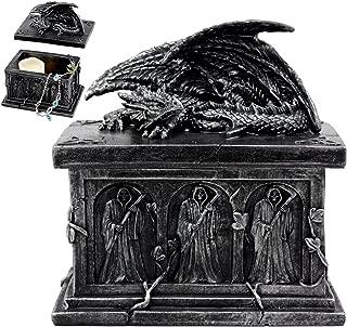 Ebros Gift Mythical Dragon Guarding Grim Reaper Tomb Decorative Box Trinket Jewelry Box Figurine 6