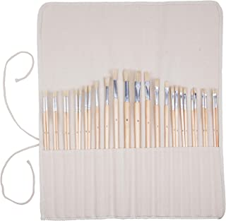 Artist Paint Brush Set - 28 Pcs - Extra Long Handle Paintbrushes w Roll-Up Canvas Bag for Oil, Acrylic, Watercolor - Flat and Round Bristles For Every Painting Style