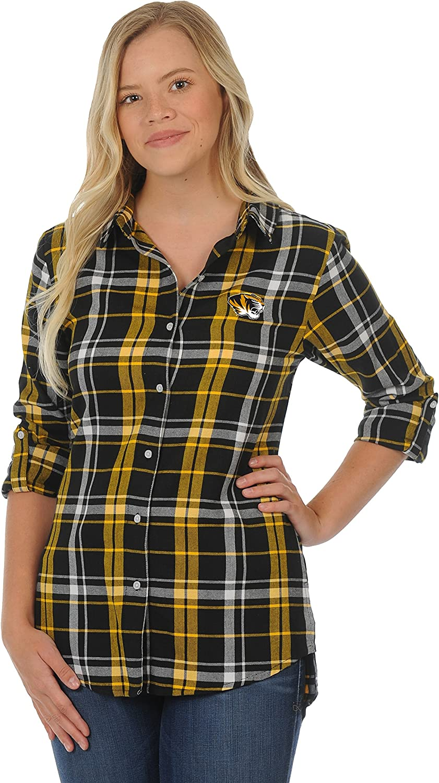 NCAA オリジナル お金を節約 Women's Boyfriend Flannel Shirt Plaid