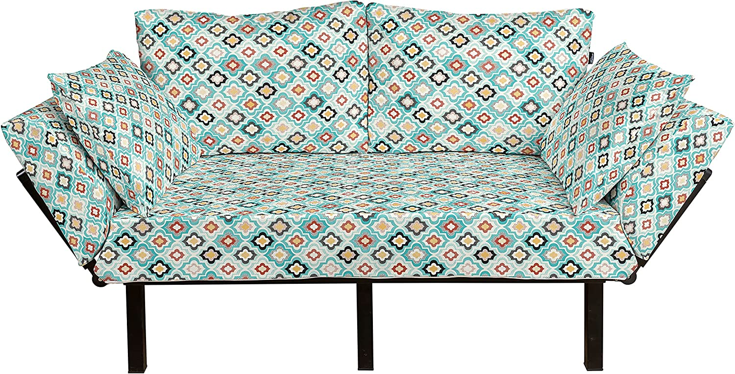 Ambesonne Geometric Futon Couch Vintage Chicago Mall De Style OFFicial shop Ottoman Floral