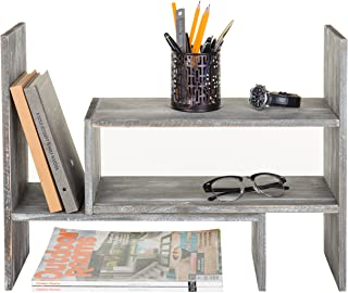 Distressed Gray Wood Adjustable Desktop Bookshelves, Countertop Display Shelves