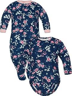 Sibinulo Jungen Mädchen Body Strampler  Schlafstrampler Babykleidung Set Größen 0 bis 24 Monate, 2er Pack Rosen Mischen