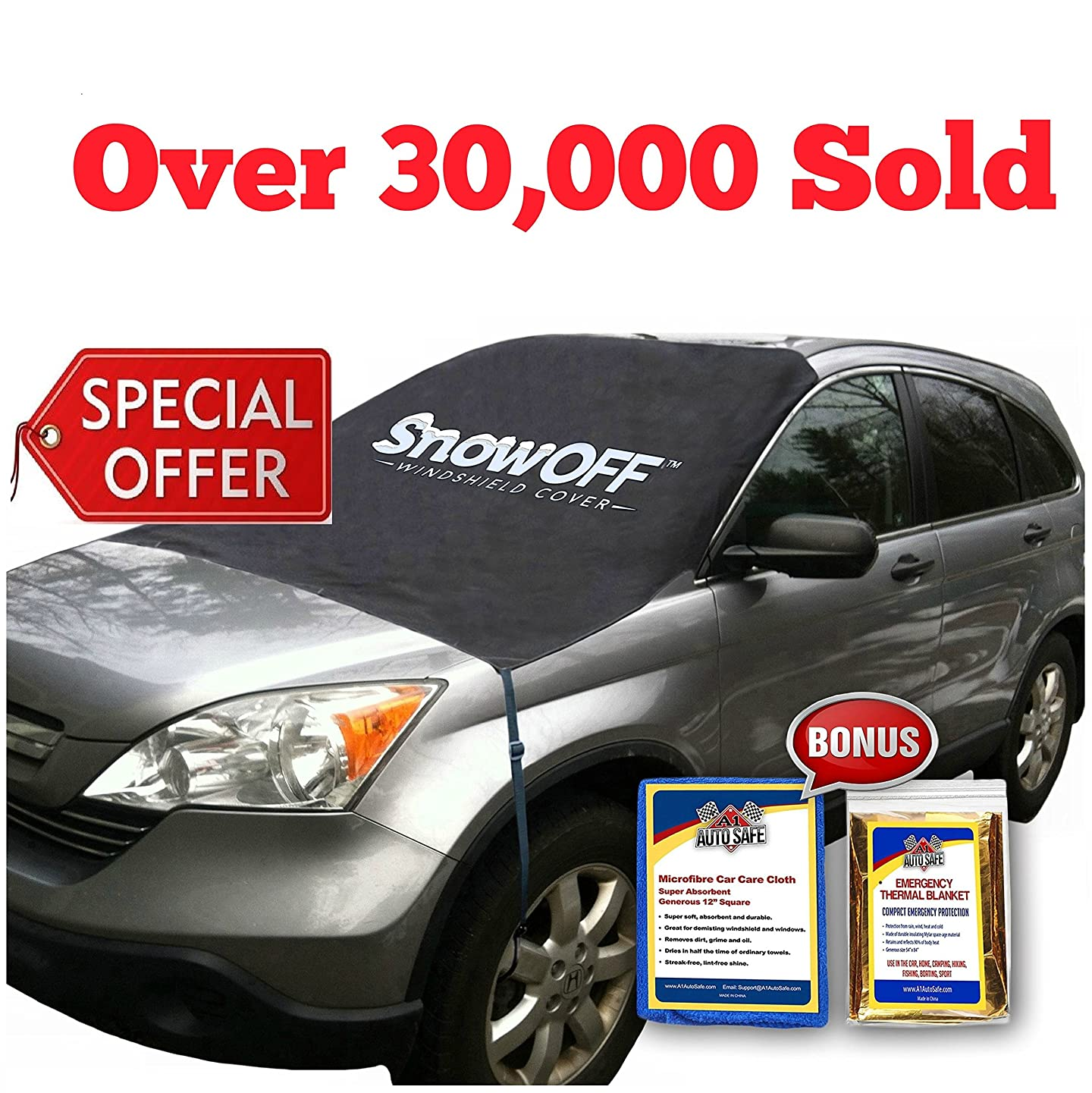 SnowOFF Extra Large Windshield Snow Ice Cover - FIT Any CAR, SUV Truck Van - Windproof Straps, Wings, Suction Cups, Magnets - Bonus Demist Cloth + Blanket - Winter Frost Automotive Hood Covers n479763451645464
