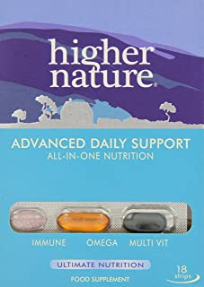 Higher Nature Advanced Daily Support Multi Vitamin Omegas and Vitamin C Tablets - Pack of 18