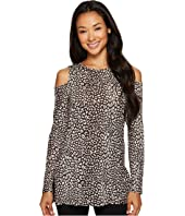 MICHAEL Michael Kors - Cheetah Long Sleeve Cold Shoulder