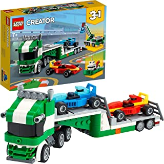 LEGO 31113 Creator 3 in 1 Race Car Transporter Toy Truck with Trailer, Crane and Tugboat Building Set