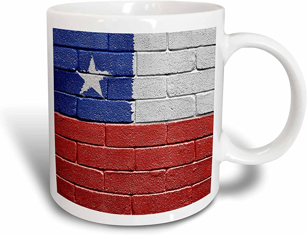 3dRose Mug 155205 2 National Flag Of Chile Painted Onto A Brick Wall Chilean Ceramic Mug 15 Ounce