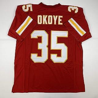 Unsigned Christian Okoye Kansas City Red Custom Stitched Football Jersey Size Men`s XL New No Brands/Logos