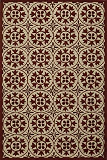 Momeni Rugs  Veranda Collection, Contemporary Indoor & Outdoor Area Rug, Easy to Clean, UV protected & Fade Resistant, 2' x 3', Red