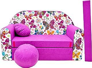 Pro Cosmo Canapé lit avec Pouf pour Enfants M33- Violet foncé - 168x98x60cm
