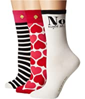 Kate Spade New York - 3-Pack Hearts Crew Socks