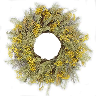 Forevercute Dried Gypsophila, 17'' Dried hay and Floral Fall Wreath,Round Wreath, Gypsophila Wreath for Front Door-Home Décor,Lover Gift