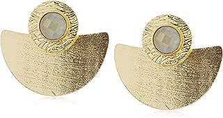 Women's Grey Stone Gold Fan Stud Earrings, Gold, 4.5