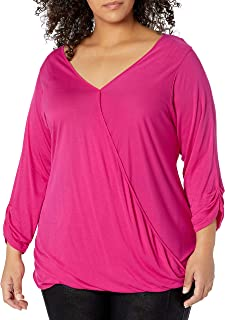 Paper + Tee Women's Plus-Size V-Neck Three-Quarter-Sleeve Drape Front Top