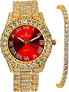 Full Iced Out Fashion Luxury Mens Watch with 14K Gold Finish Lab Diamond Tennis Bracelet Set