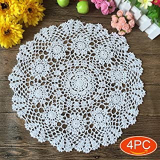 Elesa Miracle 16 Inch 4pc Handmade Round Crochet Cotton Lace Table Placemats Doilies Value Pack, Flower, Beige / White (4pc-16 Inch White)