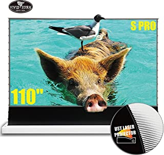 VIVIDSTORM 110inch UHD Laser TV Home Theater Projector Ultra Short Throw Gaming and Movie Projector Floor Rising Screen Sm...