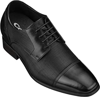 CALTO Men's Invisible Height Increasing Elevator Shoes - Black Premium Leather Lace-up Formal Oxfords - 3.2 Inches Taller - Y40552