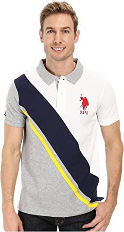 Diagonal Striped Color Block Slim Fit Pique Polo