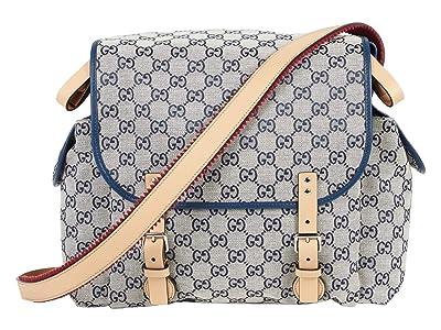 Gucci Kids GG Canvas Diaper Bag (Blue/Natural) Handbags