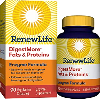 Renew Life® Adult Digestive Enzyme - DigestMore™ Fats & Proteins Enzyme Supplement - Plant-Based Formula, Supports Digesti...