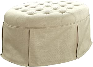 HOMES: Inside + Out Cyrus Transitional Round Ottoman, Beige