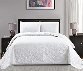 "Mk Collection 3pc King/California King Over Size 118""x106"" Diamond Bedspread Bed-Cover Embossed Solid White New"