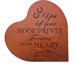 """LifeSong Milestones Personalized Wooden Cherry Dog Cat Horse Pet Memorial Heart Block Quotes Custom Engraved Sympathy Gift Ideas for Loss of pet Memorial 5"""" x 5 (You Left Hoof Prints)"""