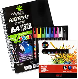 Artgecko A4 Freestyle Sketchbook - White Bleedproof Paper - 250gsm - 30 Sheets + PC-5M Classic Set of 8 Pens