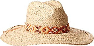 'ale by alessandra Women's Indio Raffia Braid Hat With Hand Woven Trim and Rated UPF 50+