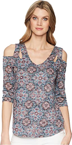 Tribal Printed Burnout 3/4 Sleeve Cold Shoulder Top