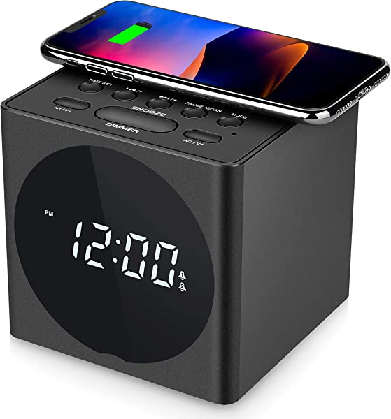 SVINZ Wireless Charging Dual Alarm Clock Radio With Bluetooth Speaker Compatible IPhone X LED Display Dimmable Clock With USB Charger Port For Bedrooms Loud Alarm For Heavy Sleepers Snooze Aux In