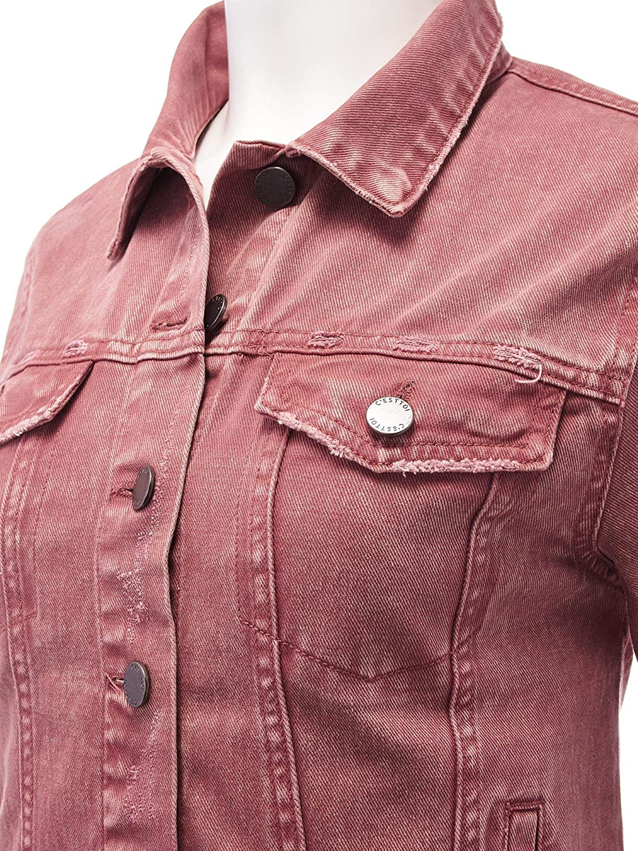 FashionMille Women 90s Vintage Color Acid Washed Jean Jacket