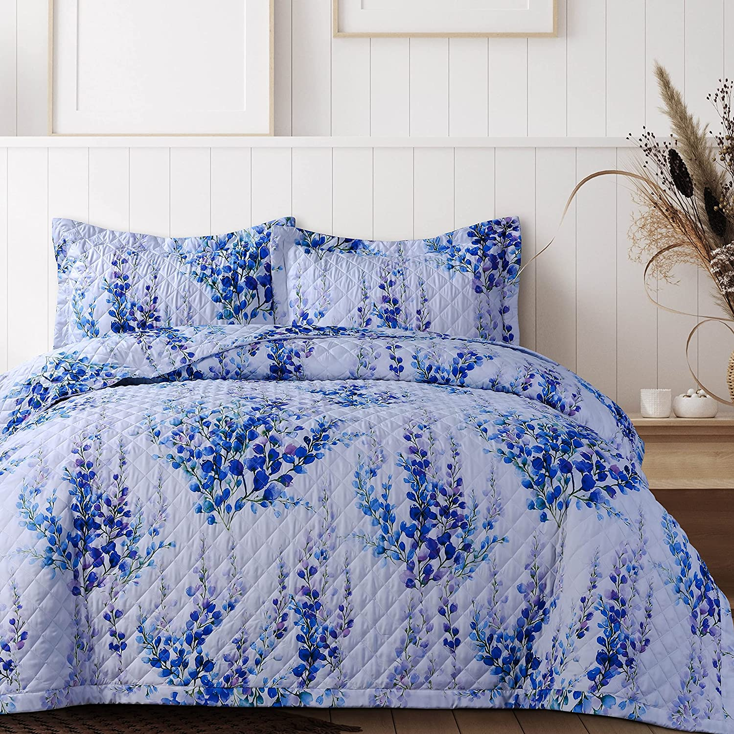 cheap Excellent AZORES HOME 110PRQUI Floral Printed Quilt Queen Set Oversized